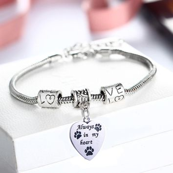 Dog memorial charm bracelet | Always in my heart |  pet loss quote with charms fashion jewelry