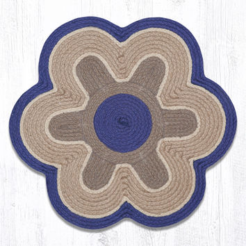 "Blue/Natural Flower Shaped Jute Rug. 27"" x 27"""