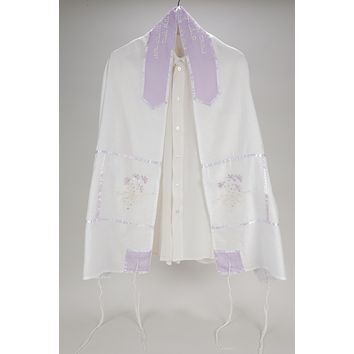 SHEER PRAYER SHAWL WITH VIOLET FLORAL DISPLAY