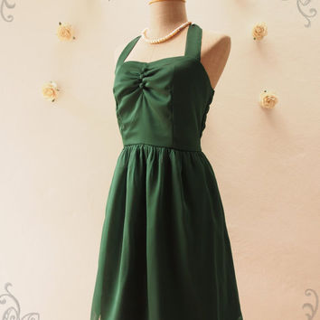 BLOOM : Forest Green Dress Green Halter Dress Fancy Green Bridesmaid Dress Vintage Party Dress Wedding Prom Dress -Size XS,S,M,L,XL, Custom