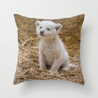 WHITE LION CUB Throw Pillow by catspaws