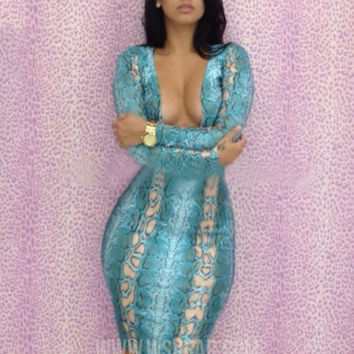 Blue Printed Long Sleeve V-neck Midi Bodycon Dress