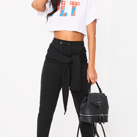 Lucee Black Tie Front Joggers