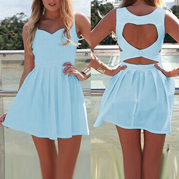 Sweetheart Neckline Blue Dress