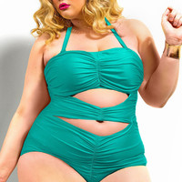 Plus Size Green Sweetheart Ruched Halter Swimsuit