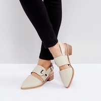Intentionally Blank Intinsic Cream Leather Cut Out Sling Mid Heeled Shoes at asos.com