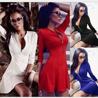 Fashion Women Dress Solid Pleated V-neck Sexy Ladies Dresses Evening Party Bodycon Mini Summer Dress vestidos