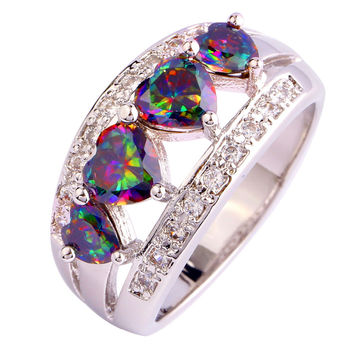 AAA CZ Lab Handmade Jewelry Fashion Lab Rainbow sapphire Silver 18K Gold Plated Ring Size 6 7 8 9 10 11 12 Free Shipping
