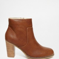Oasis Block Heel Boot With Stitching Detail at asos.com