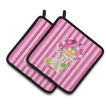 Fairy House Pink Stripes Pair of Pot Holders BB6907PTHD