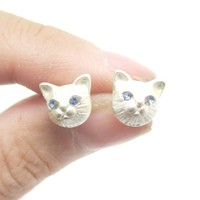 Adorable Tiny Kitty Cat Face Shaped Stud Earrings in Silver | DOTOLY