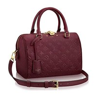 Louis Vuitton Speedy Monogram Empreinte Leather Bandoulière 25 Article: M43262 Raisin Made in France