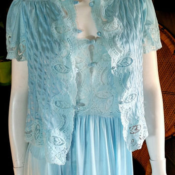80's Light Blue Sexy Nightgown & Bed Jacket Set, 2 piece Bed Jacket and Nightgown, Vintage Lily of France, Sexy Blue Nightgown Set, Size SM