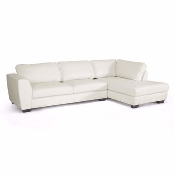 Orland White Leather Modern Sectional Sofa Set with Right Facing Chaise By Baxton Studio