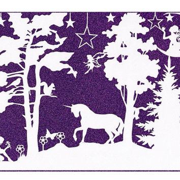 Woodland Fairy Papercut - Unicorn Papercutting - Mythical Art
