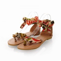 Satin Strap Ethnic Style Flat Sandals
