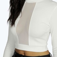 Bree Plunge Mesh Turtle Neck Crop