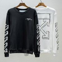 OFF-WHITE early spring thin section men and women couple 3D sketch geometric striped round neck long-sleeved sweater