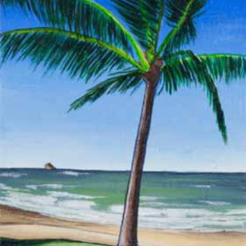 Palm Tree Original ACEO  Aqua Blue  Tropical by DelineateGallery