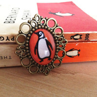 Penguin Books Metal Cameo Brooch Literary Gift