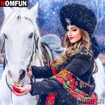 5D Diamond Painting Russian Girl and a White Horse Kit