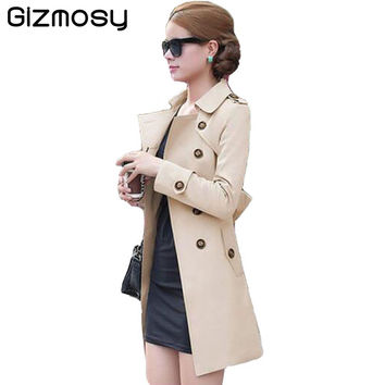 Gizmosy!new 2016 spring coat women slim overcoat medium-long sashes trench coat women casual trench coat for women BN406BN
