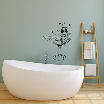 Vinyl Decal Wall Sticker Woman Wineglass Girl Martini Pin-up Unique Gift (g058)