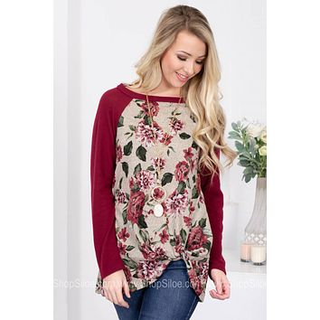 Charlotte Wine Floral Knot Top