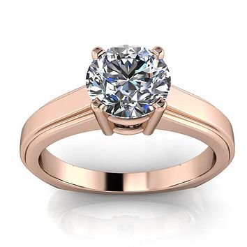 Moissanite Solitaire Engagement Ring Euro Shank - Alissa