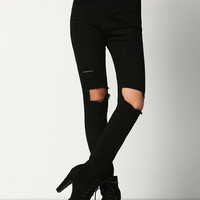 Black Skinny Ripped Denim Pant | MakeMeChic.COM