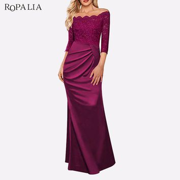 ROPALIA Women Sexy Off Shoulder Dress Formal Long Maxi Bridesmaid Lace Dress Elegant Bodycon Party Dresses