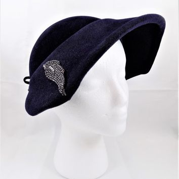 Navy Blue Tapered Wide Brim Felt Hat, Bead Appliques, Made in Italy, Vintage Women's Hats