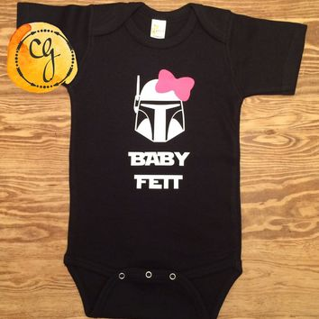 Baby Fett GIRL (with bow) Funny Star Wars Inspired Onesuit or Tee