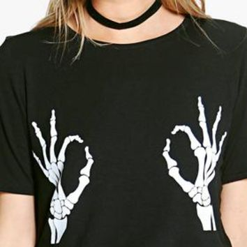 Lauren Halloween Skeleton Hand Oversized T-Shirt