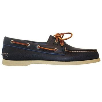 ONETOW Sperry Top-Sider A/O 2-Eye - Tumbled Blue Leather Boat Shoe