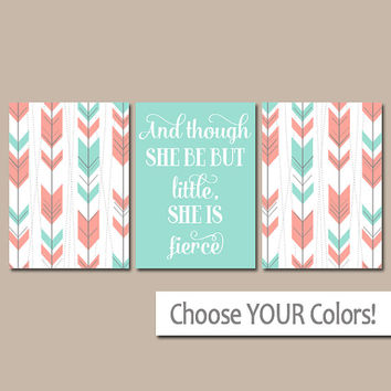 Arrow Tribal Nursery Canvas or Prints Modern Aztec Arrows Wall Art, Girl Nursery Quote Wall Art, She Be But Little She is Fierce Set of 3