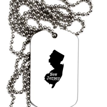 New Jersey - United States Shape Adult Dog Tag Chain Necklace by TooLoud