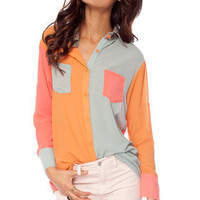 Snake Up On You Colored Blouse in Coral and Sage :: tobi