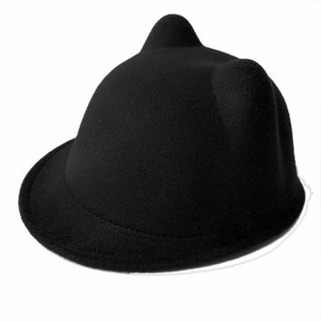 BlaCute Winter Cat Ear Wool Felt Fedora Hat Girl Boy Kid Children Derby Bowler Cap F05