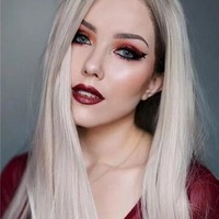 Long Ash Blonde Straight Long Synthetic Lace Front Wig