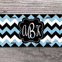 Customized License Plate - Baby Blue and Black chevron monogrammed front car plate, custom name or monogram, vanity car tag - 291