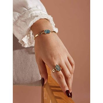 1pc Hexagon Decor Ring & 1pc Bracelet