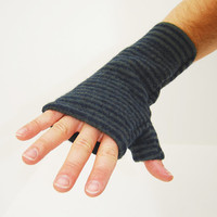 Men's Fingerless Mitts in Forest Green and Navy Blue Striped Merino - Recycled Felted Wool