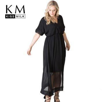 Kissmilk Plus Size Black Dress Women V-Neck Short Sleeve Ruffles Semi Sheer Split Side Vestidos Female Big Size De Fasta Lady