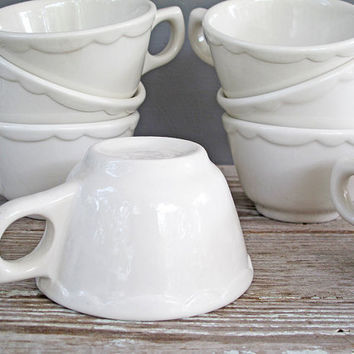 vintage white buffalo china cups set of 8 by KatyBitsandPieces