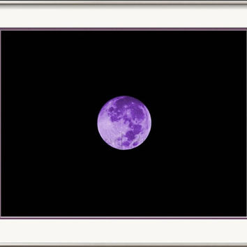Lavender Moon A Bright Purple Color Enhanced Photograph of the Full Moon as It Rises in the Desert Night Sky Photography Wall Art