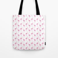 Pink Flamingo Pattern Tote Bag by tanyalegere