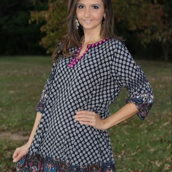 Umgee Navy and Fuchsia Print Tunic Dress