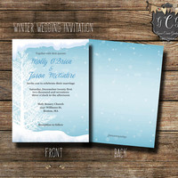 Ice Blue Winter Wedding Invitation,Tree Wedding Invitations,Winter Wedding invitations, Christmas Wedding,Winter invitations,Bling invite