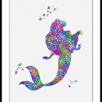 Little Mermaid Ariel Watercolor Art Print